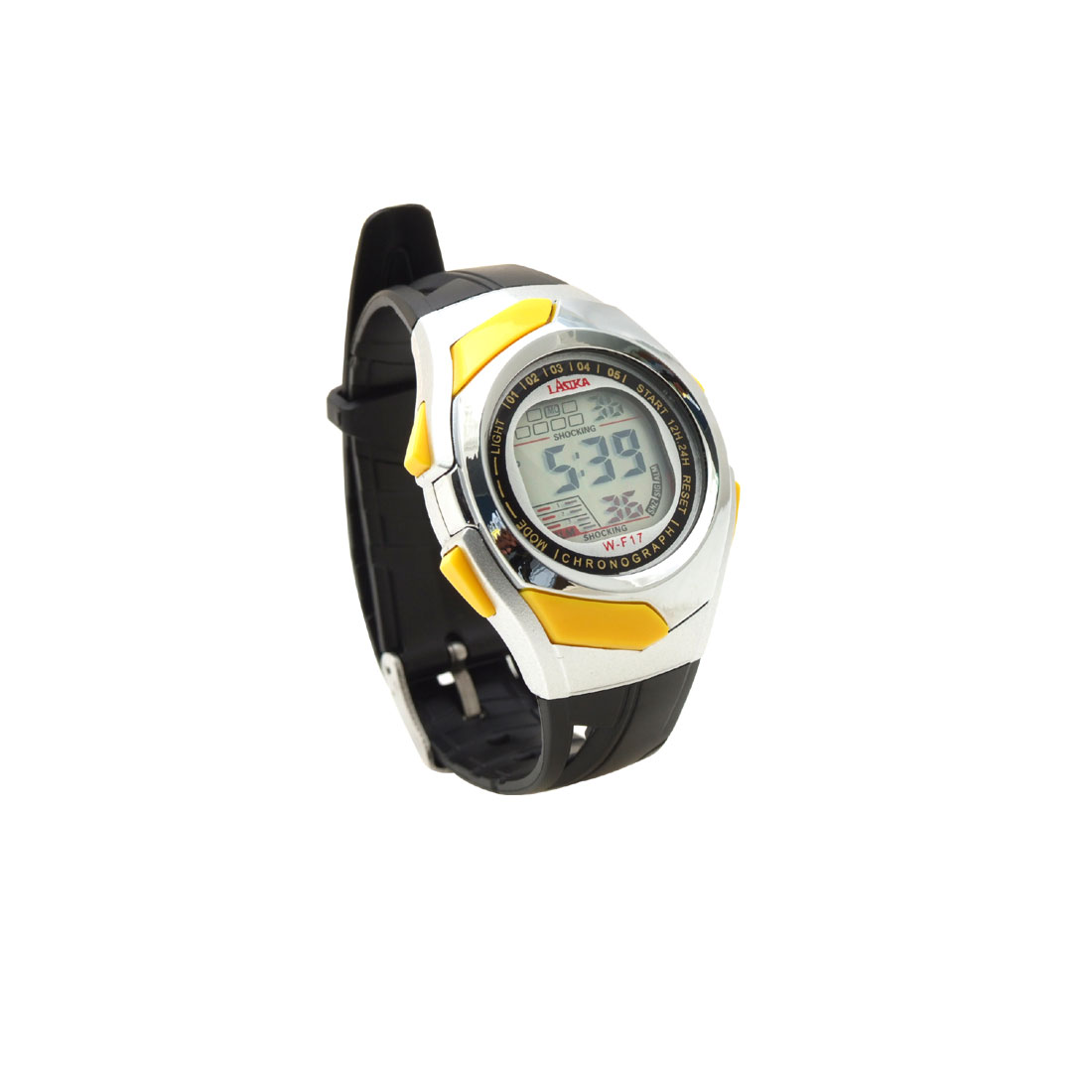 Black Band Multifunctional Round Students Sports Wrist Alarm Watch