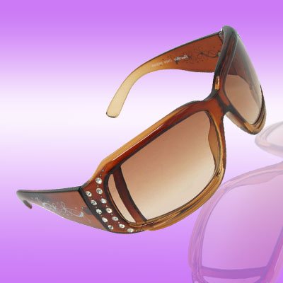 Mini Amber Lens Fashion Women's Sunglasses with Rhinestone