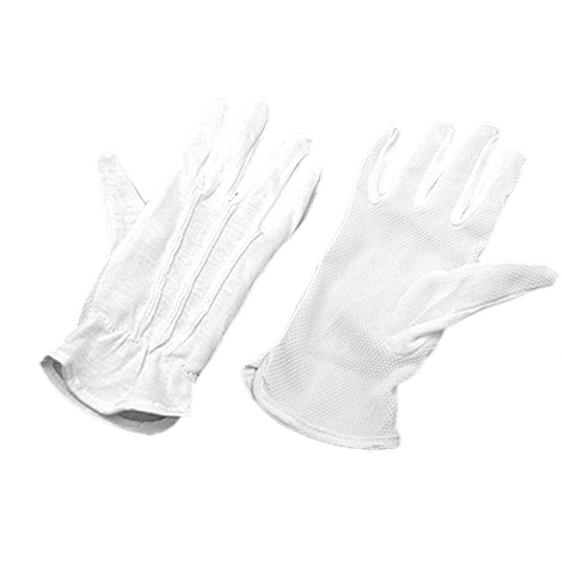 Pair Protective Anti-Slip White Cotton Work Driving Gloves