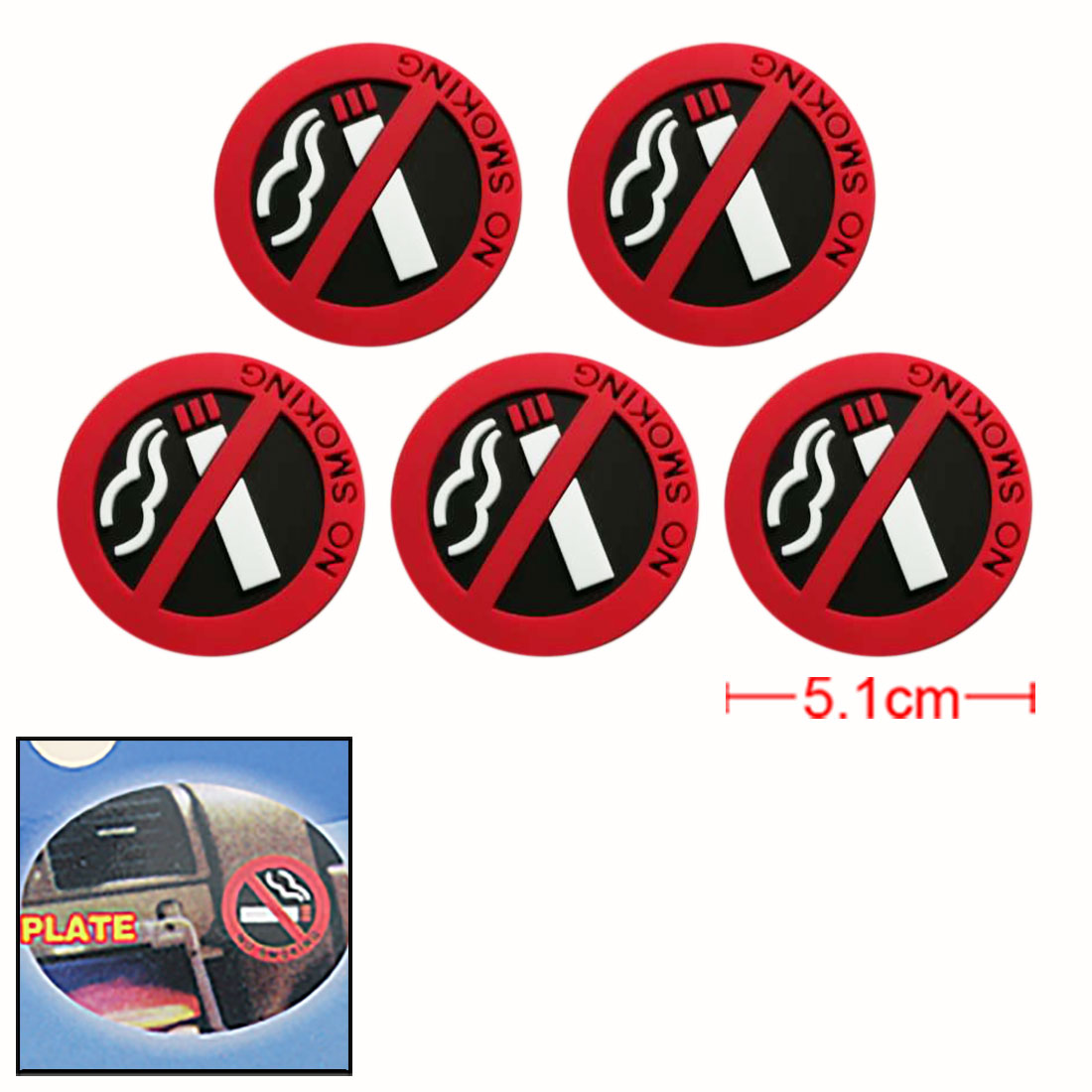 Auto Car 5 Soft Round Plastic No Smoking Sign Sticker