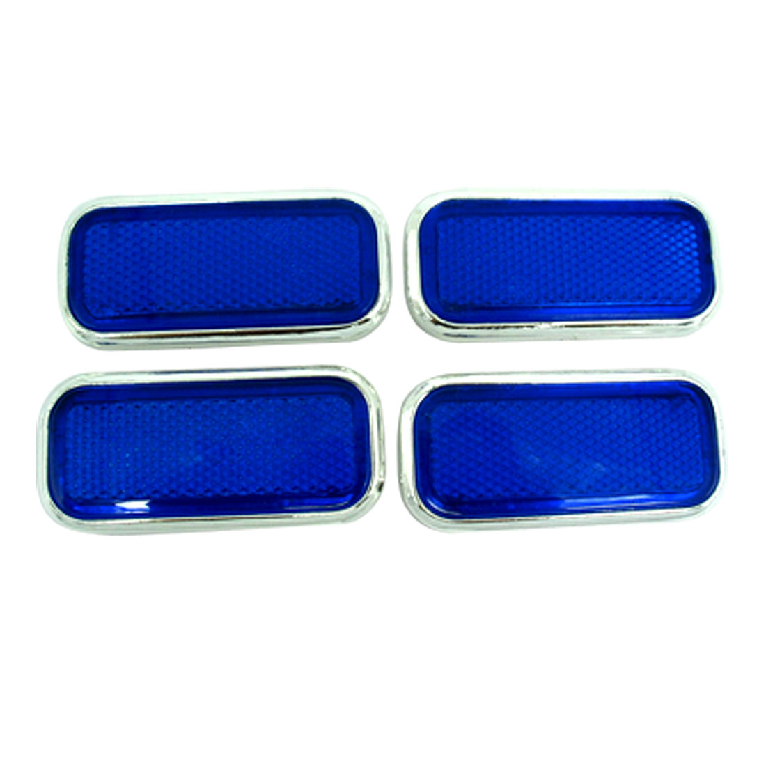 Cube Car Bumper Reflector Guard Set Blue with Silvery Rim 4 Pieces (HL-6021)