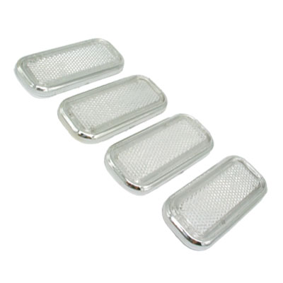 Cube Car Bumper Reflector Guard Set White with Silvery Rim 4 Pieces (HL-6021)