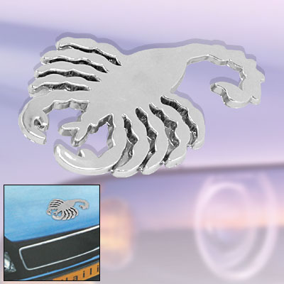 Silver Tone Scorpion Emblem Car Logo Badge Sticker