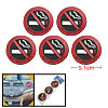 Auto Car Soft Plastic No Smoking Sign Round Adhesive Stickers 5 Pcs