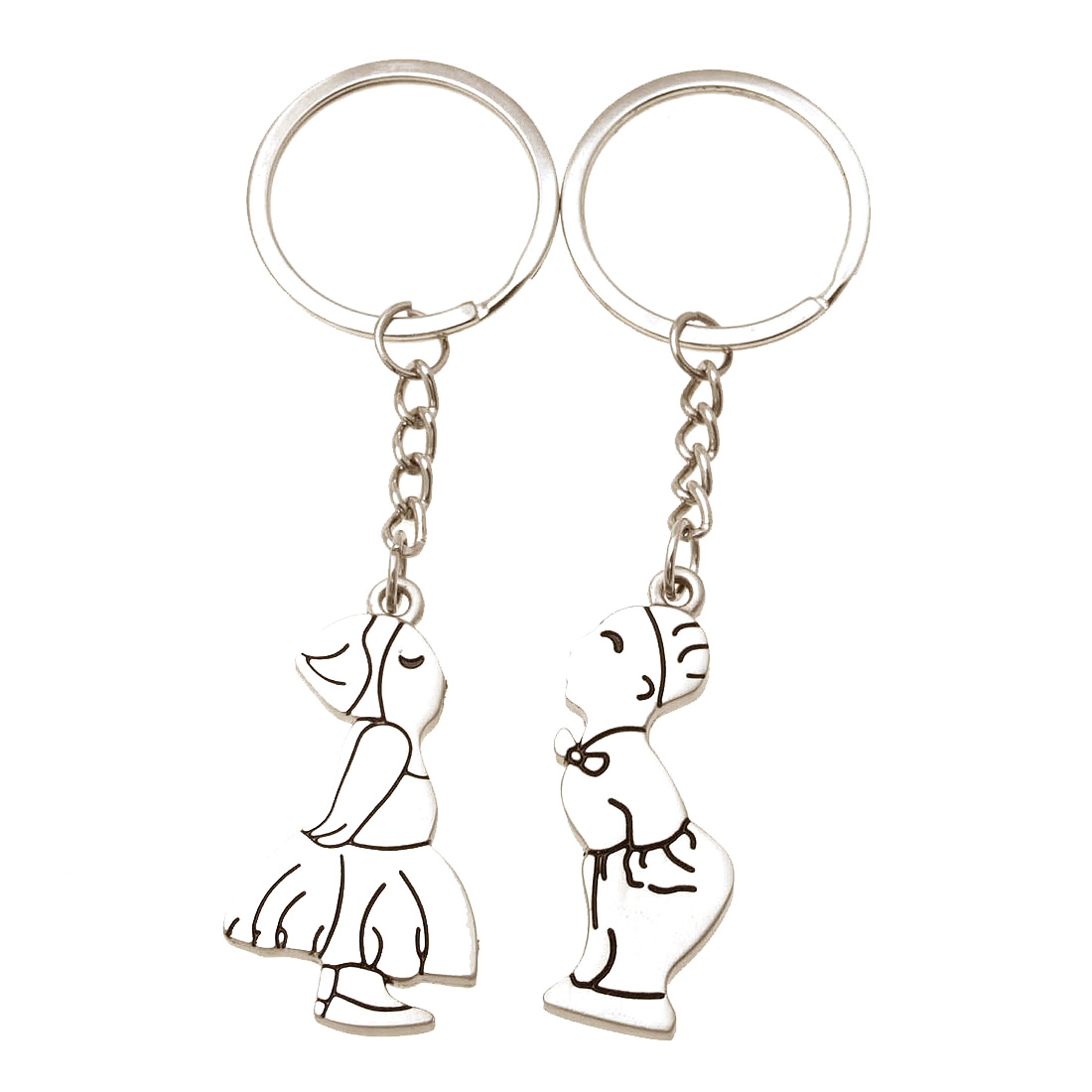 and Fashionable Key Chain with Persons Pendant Silvery