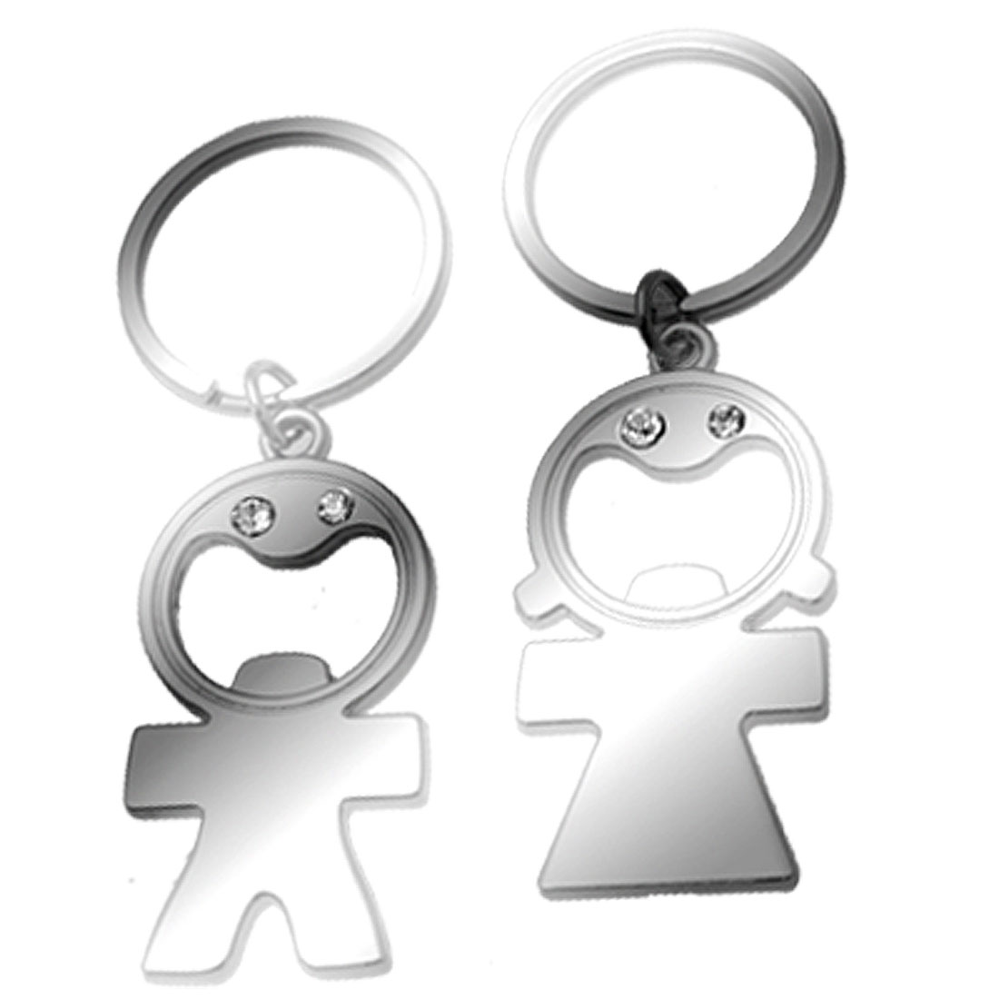 Boy and Girl Couple Key Chain with Rhinestone Pendant