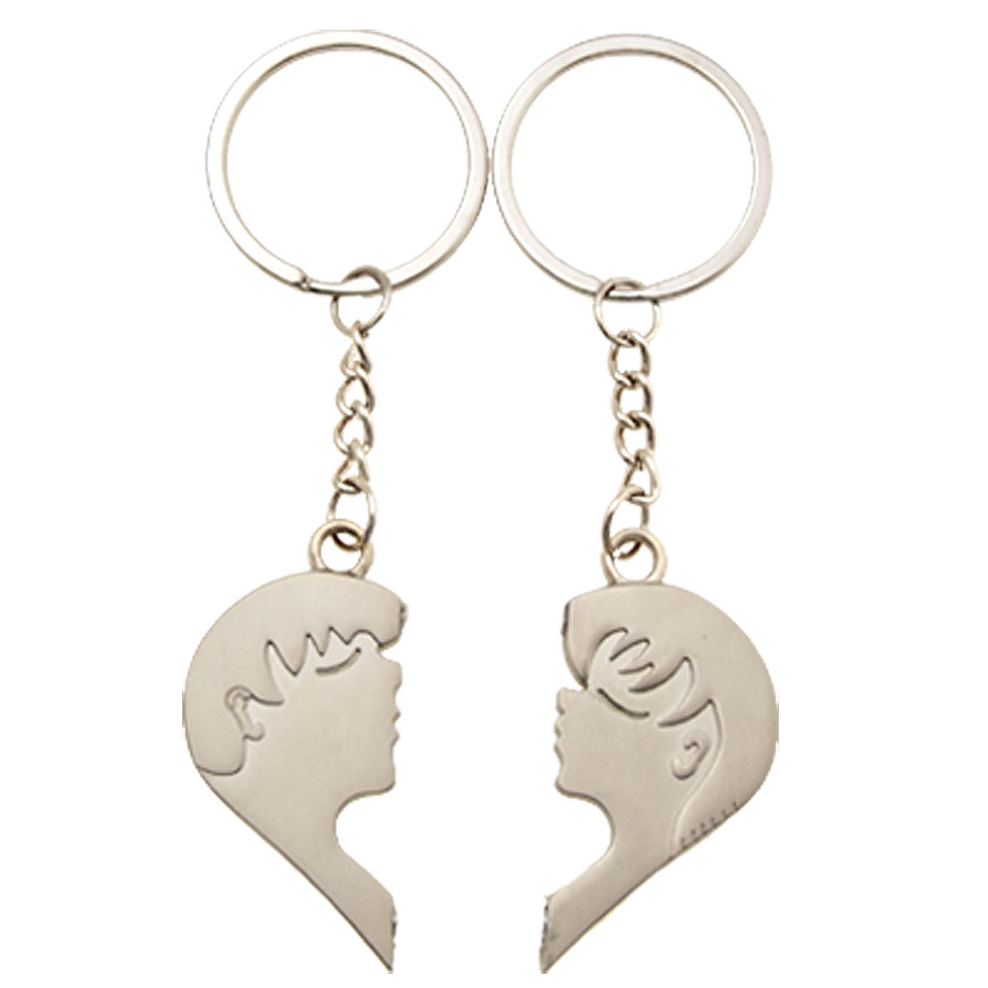 Fashion Pair Key Chain with Kissing Boy and Girl Pendant