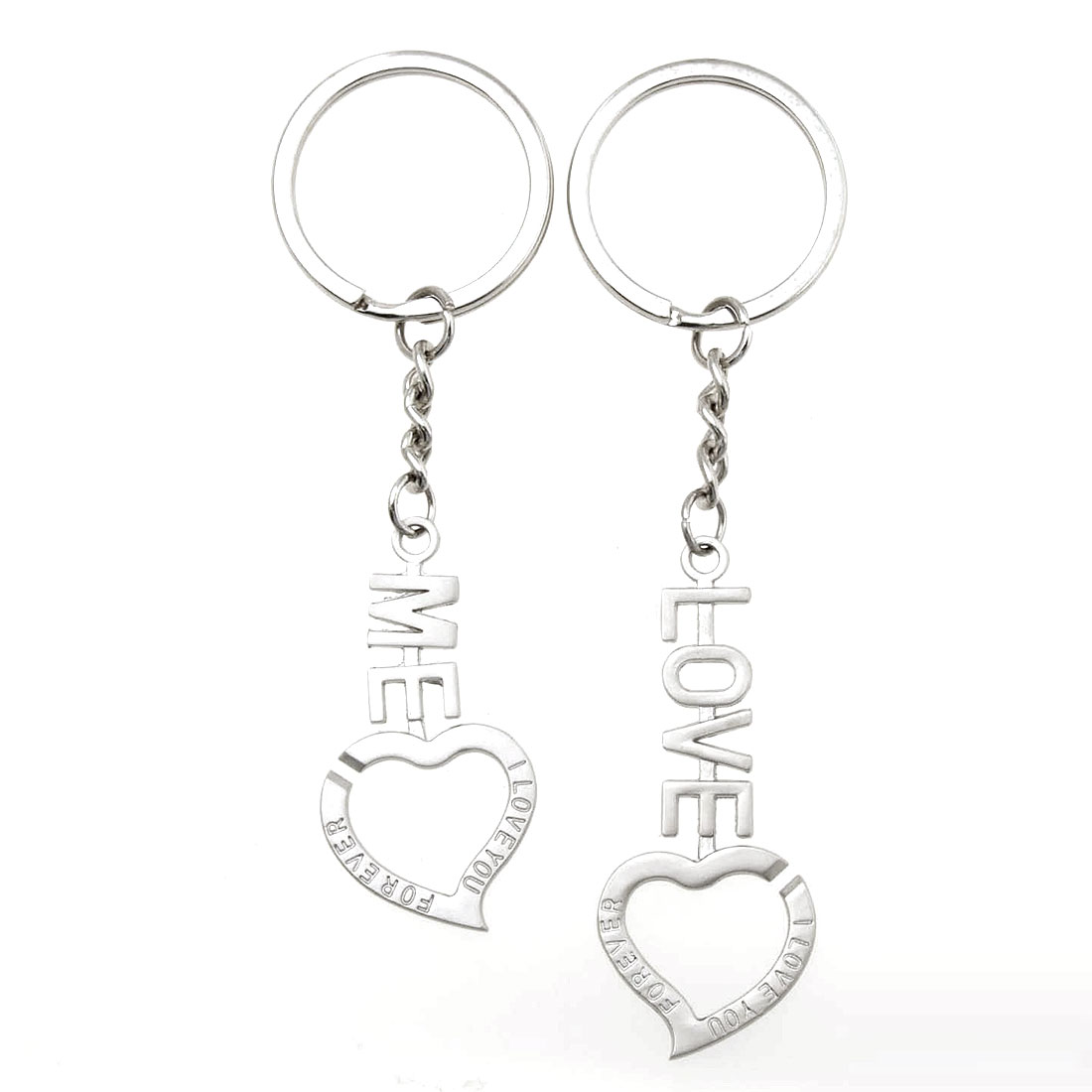 Couple Love Key Chain with Heart Pendant