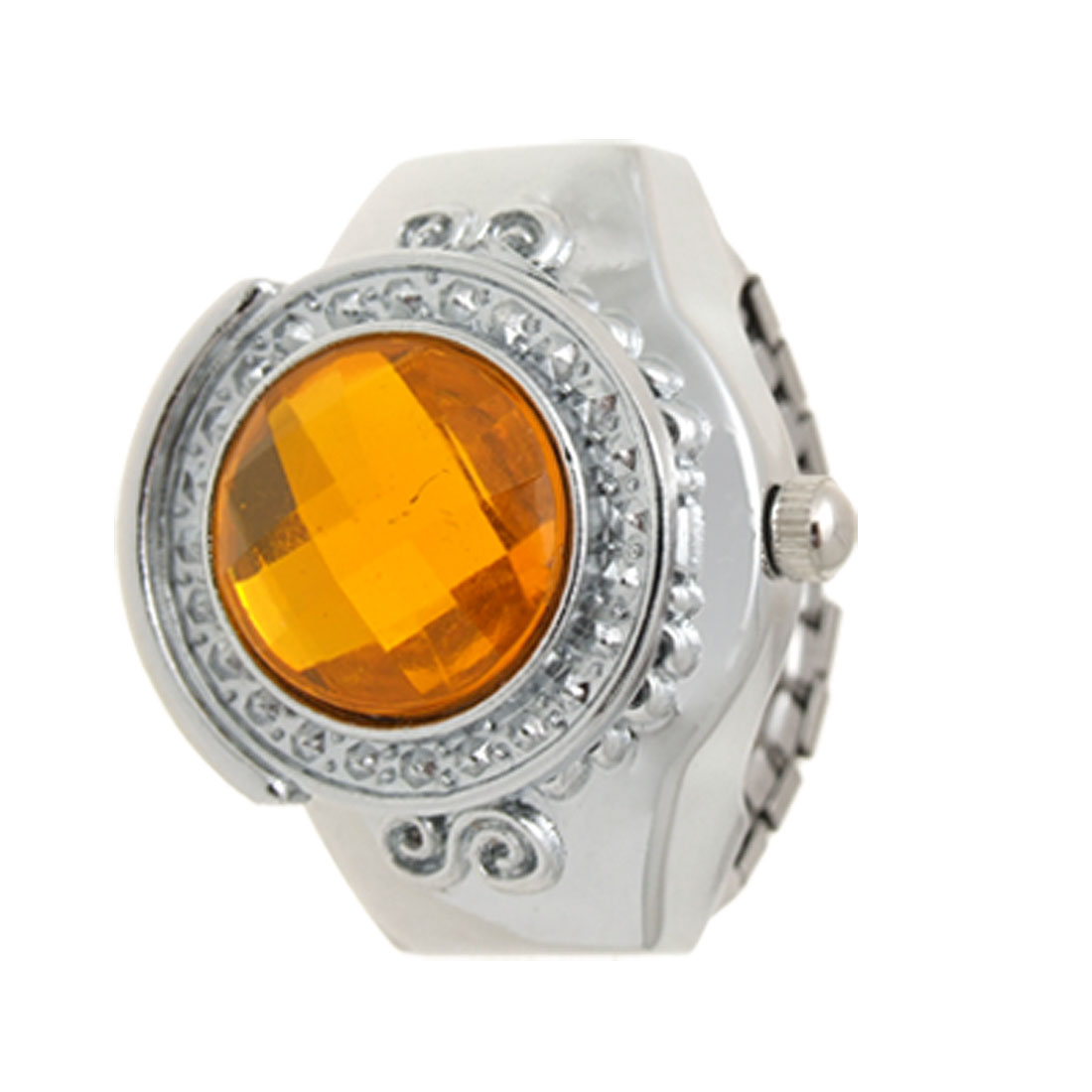 Fashion Jewelry Orange Man-made Gem Finger Ring Watch