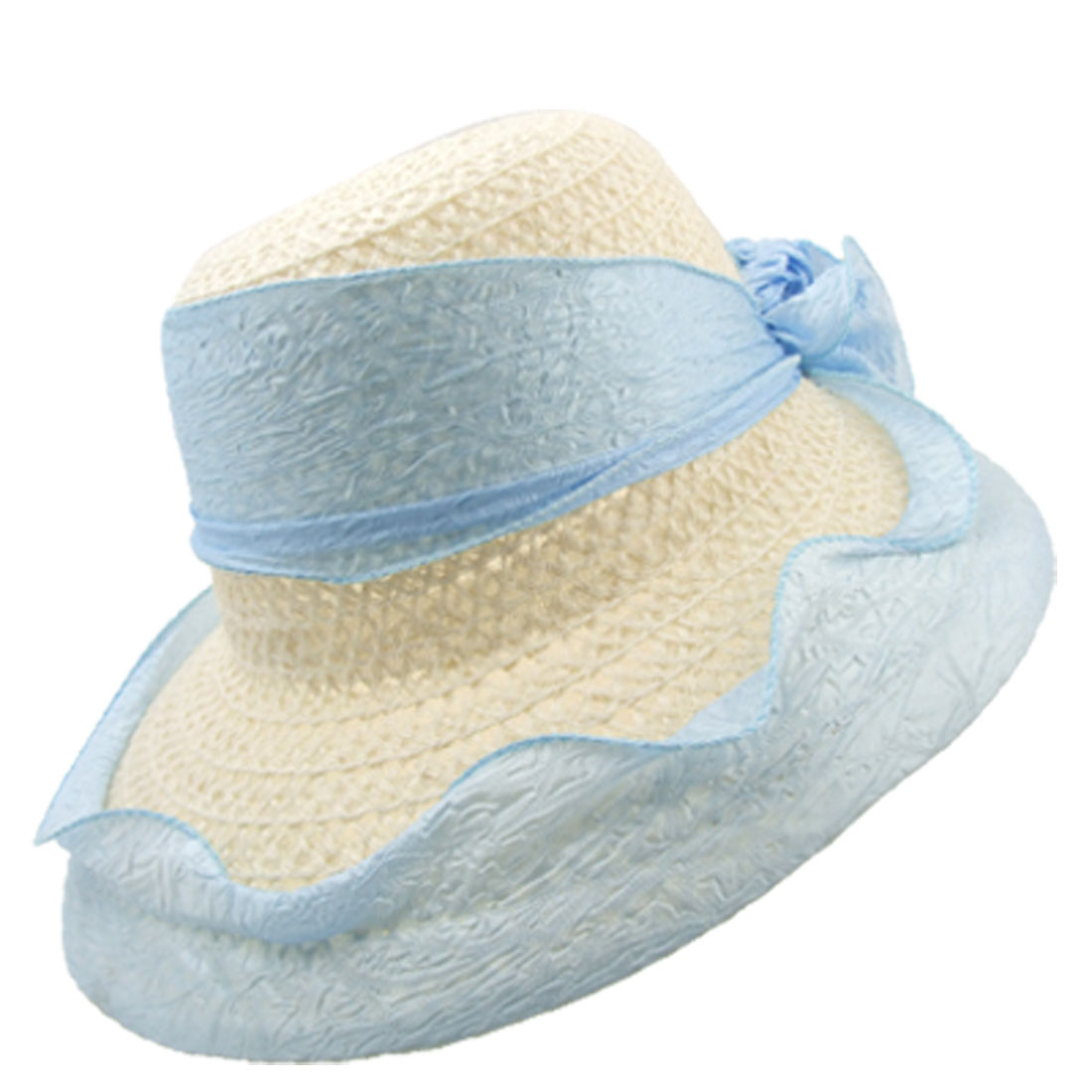 Modish White Flax Mesh Cloth Outdoor Sun Hat with Baby Blue Flower