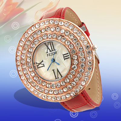 Fashion Jewelry Golden Round Cap Rhinestone Leather Band Ladies' Watch Red