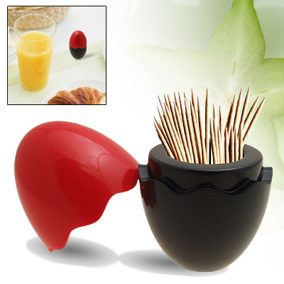 Egg Plastic Toothpick Holder Tooth Picks Dispenser Red and Black Easter Day Gift