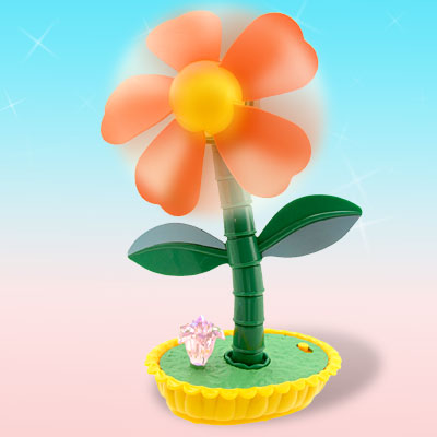 Orange Flower Cooling Fan with Colorful LED Flash Light Yellow Flowerpot