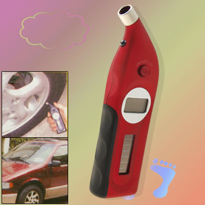 Red Solar Powered LCD Digital Tire Tyre Pressure Gauge (CC-106B)