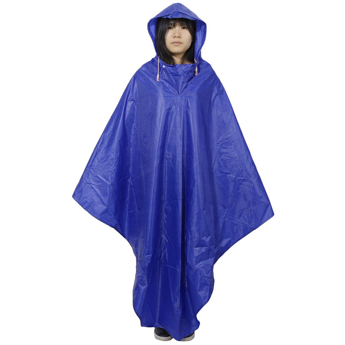 Anti Waving Blue Hooded PVC Raincoat for Adult Bicycle Rider (XL Size YT001)