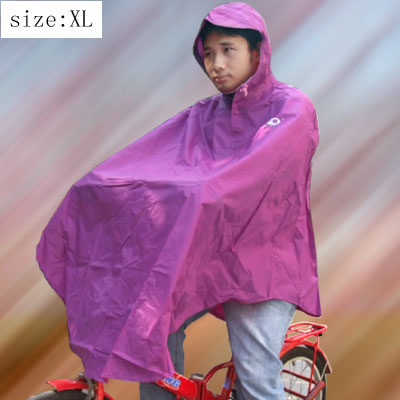 Anti Waving Purple Hooded PVC Raincoat for Adult Bicycle Rider (XL Size YT001)