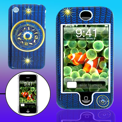 Blue Hard Plastic Shell with Golden Compass Pattern for iPhone 1st Generation