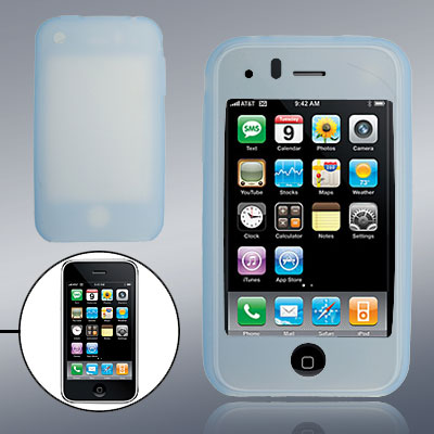 Soft Smooth Blue Silicone Skin Case Cover for Phone 3G / 3GS