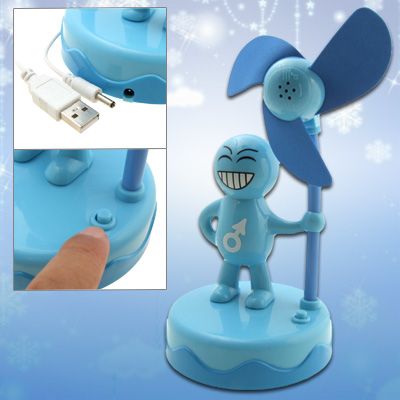 Mini Portable Sky Blue Super Man Desk USB Cooling Fan for PC Laptop