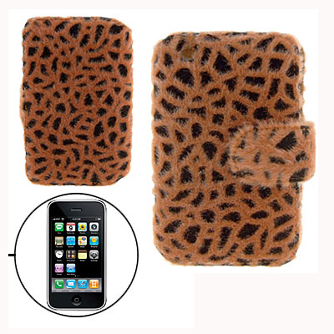 Leopard Magnetic Leather Pouch Holder Case for Apple iPhone