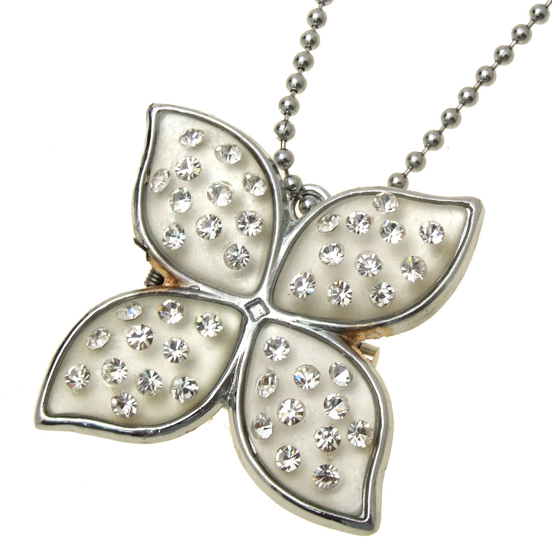 Fashion Jewelry Rhinestone Flower Pendant Silvery Chain Necklace Girl's Watch