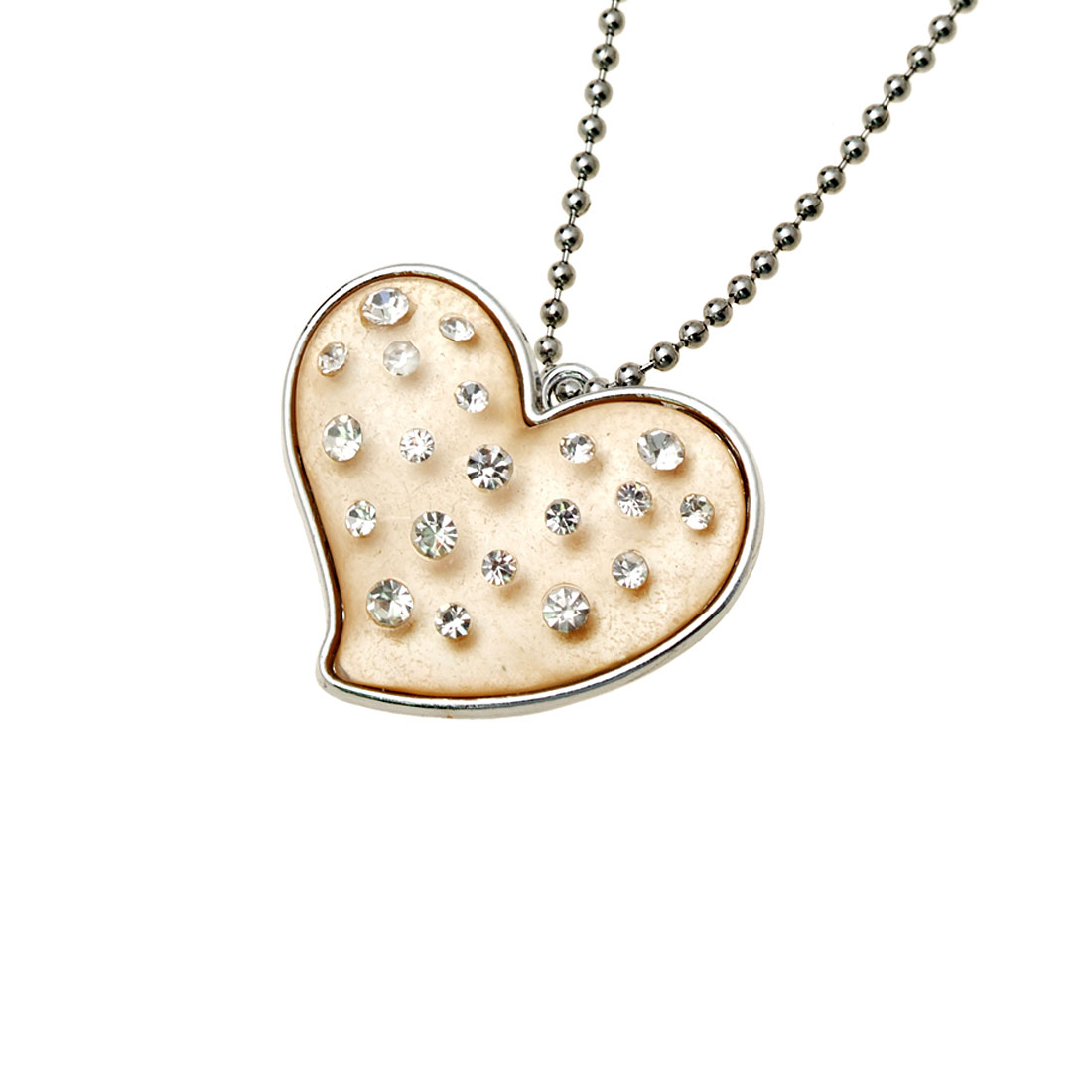 Fashion Jewelry Beige Crystal Heart Rhinestone Pendant Sweater Chain Necklace Lady's Watch