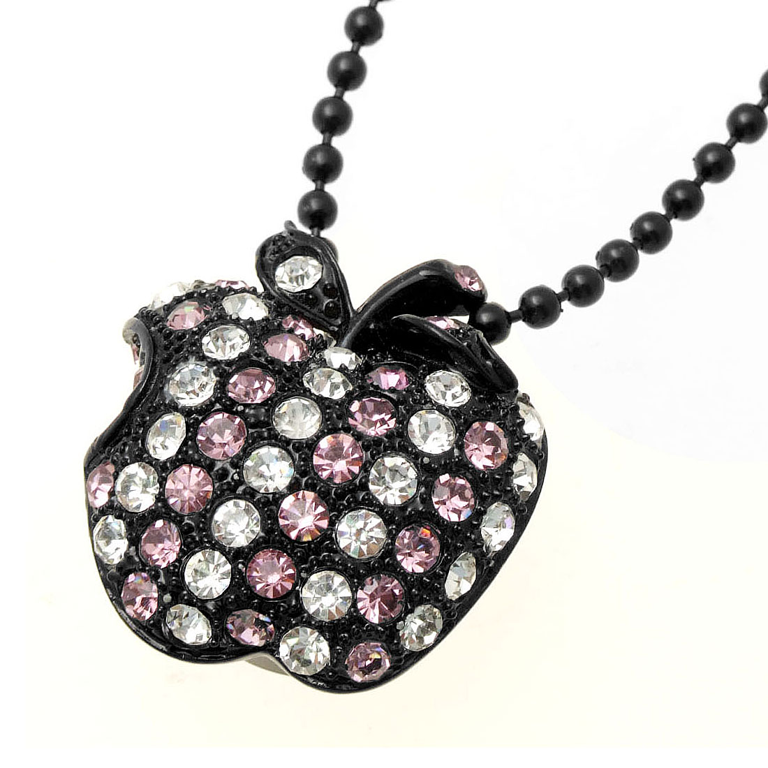 Fashion Jewelry Purple Rhinestone Apple Pendant Black Chain Necklace Girl's Watch