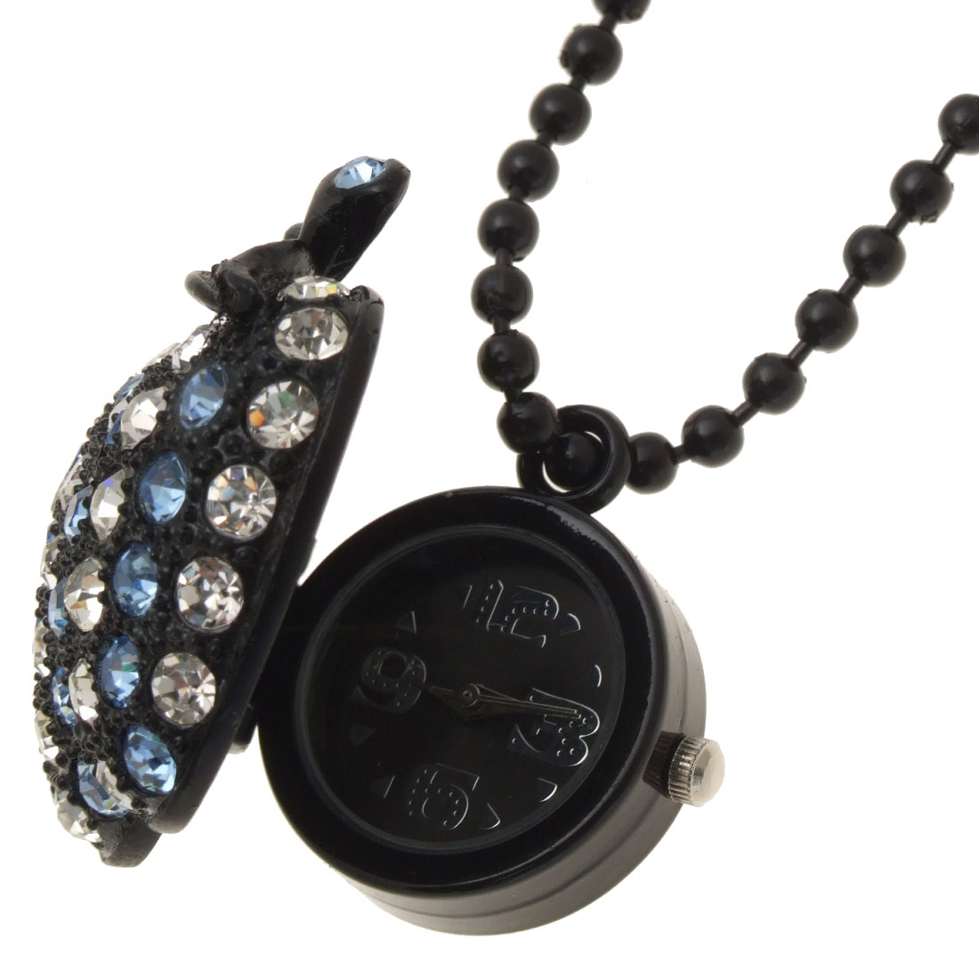 Fashion Jewelry White Blue Rhinestone Apple Pendant Black Chain Necklace Girl's Watch