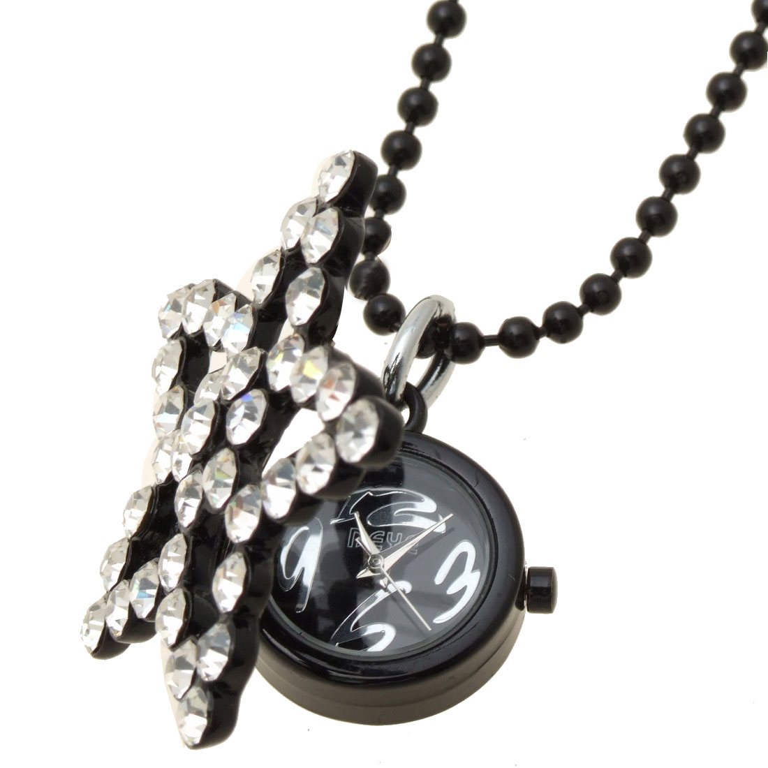 Fashion Jewelry Sweater Rhinestone White Star Pendant Necklace Lady's Watch