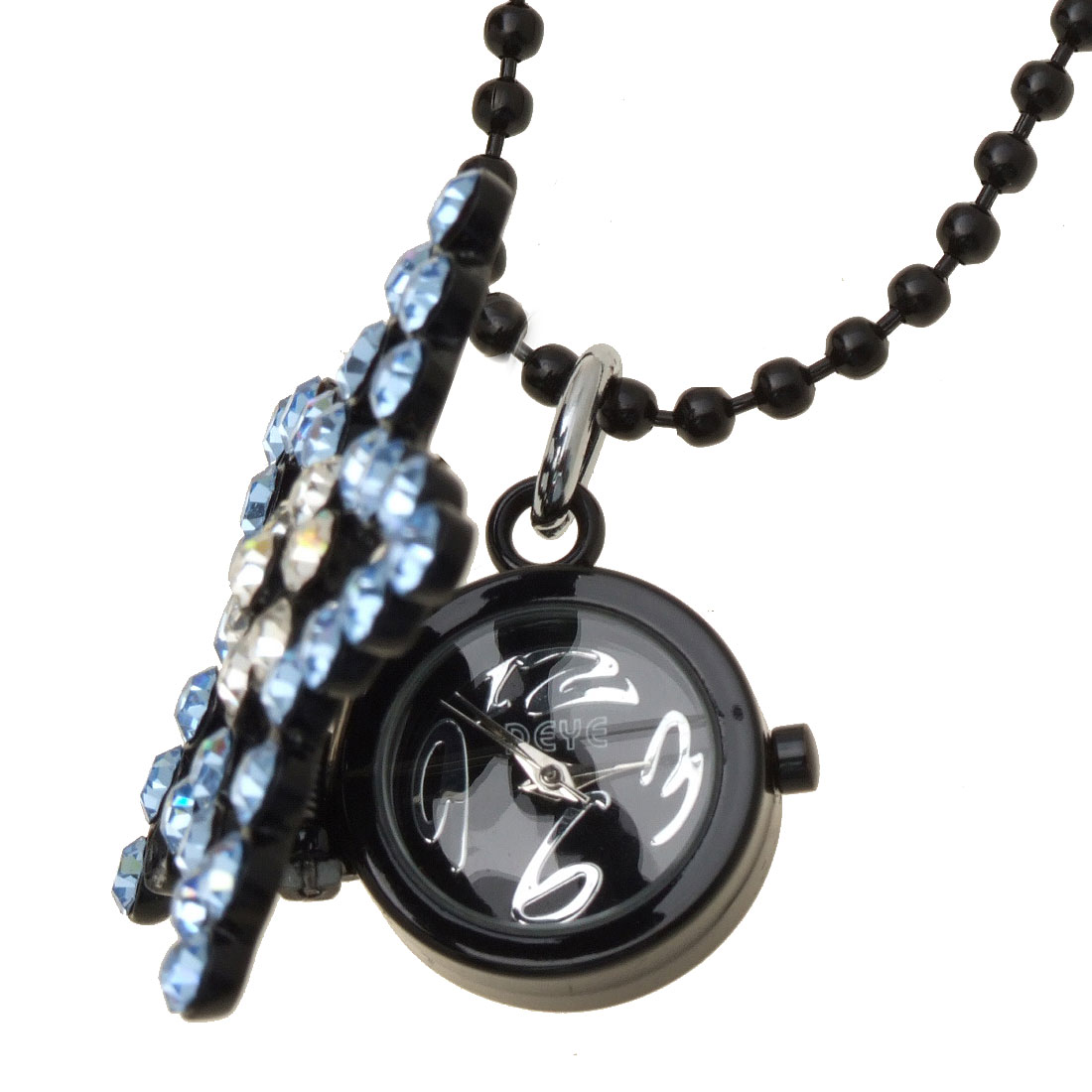 Fashion Jewelry Sweater Blue Rhinestone Star Pendant Necklace Lady's Watch