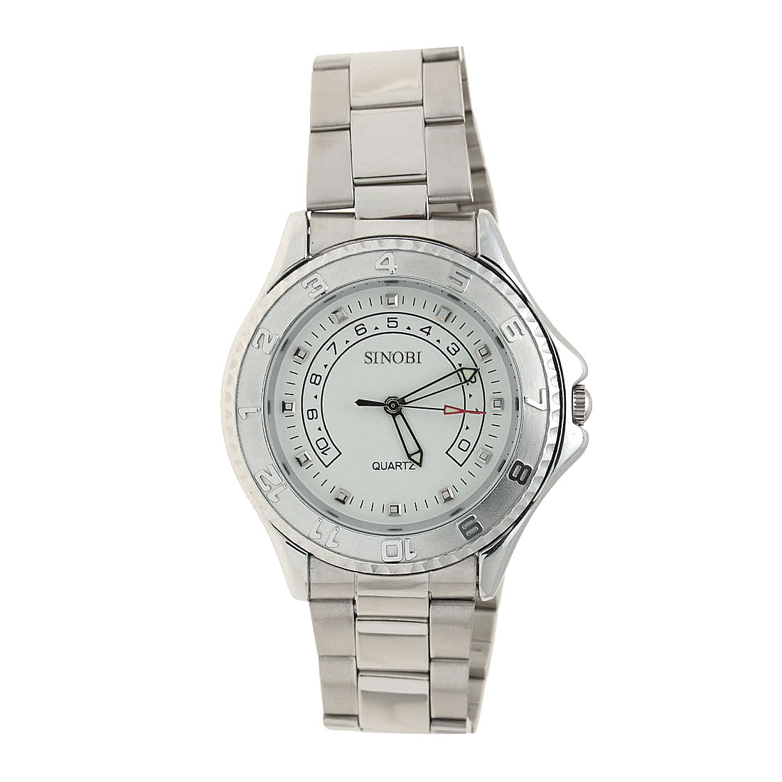 Fashion Metal Band Man's Quartz Wrist Watch White Dial