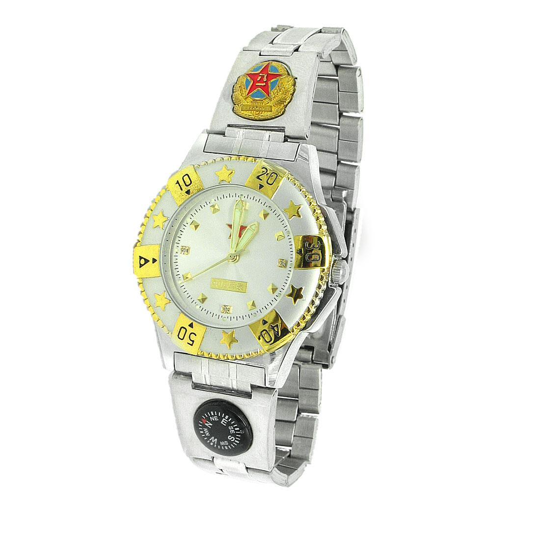 Fashion Steel Band Men's Wrist Watch with Night Vision Hands