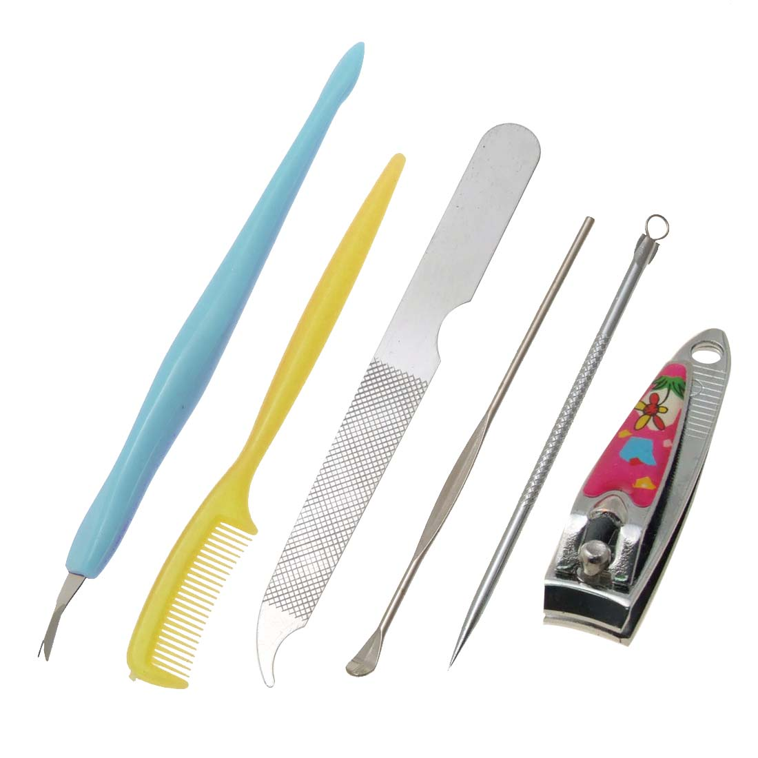 Manicure Clipper Cuticle Trimmer Comedones Extractor Nail File Eyebrow Comb Ear Wax Remover