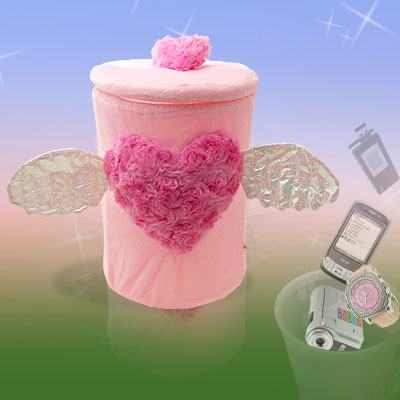Detachable Pink Plush Heart Design Home Gadget Trinket Box with Angel Wings