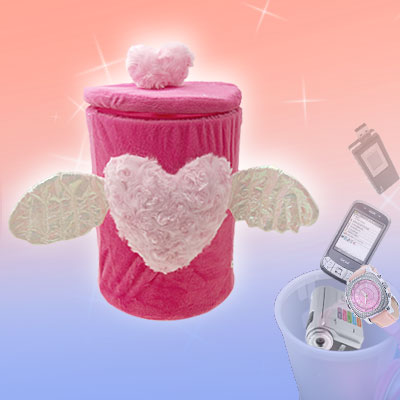 Detachable Pink Heart Design Plush Home Gadget Trinket Box with Two Wings