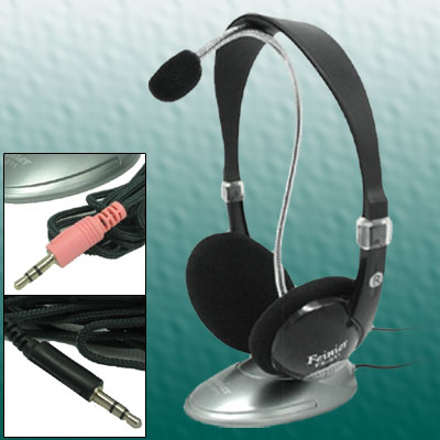 Fashion Black Headphone Desktop Microphone Two Unite as One FE - 011
