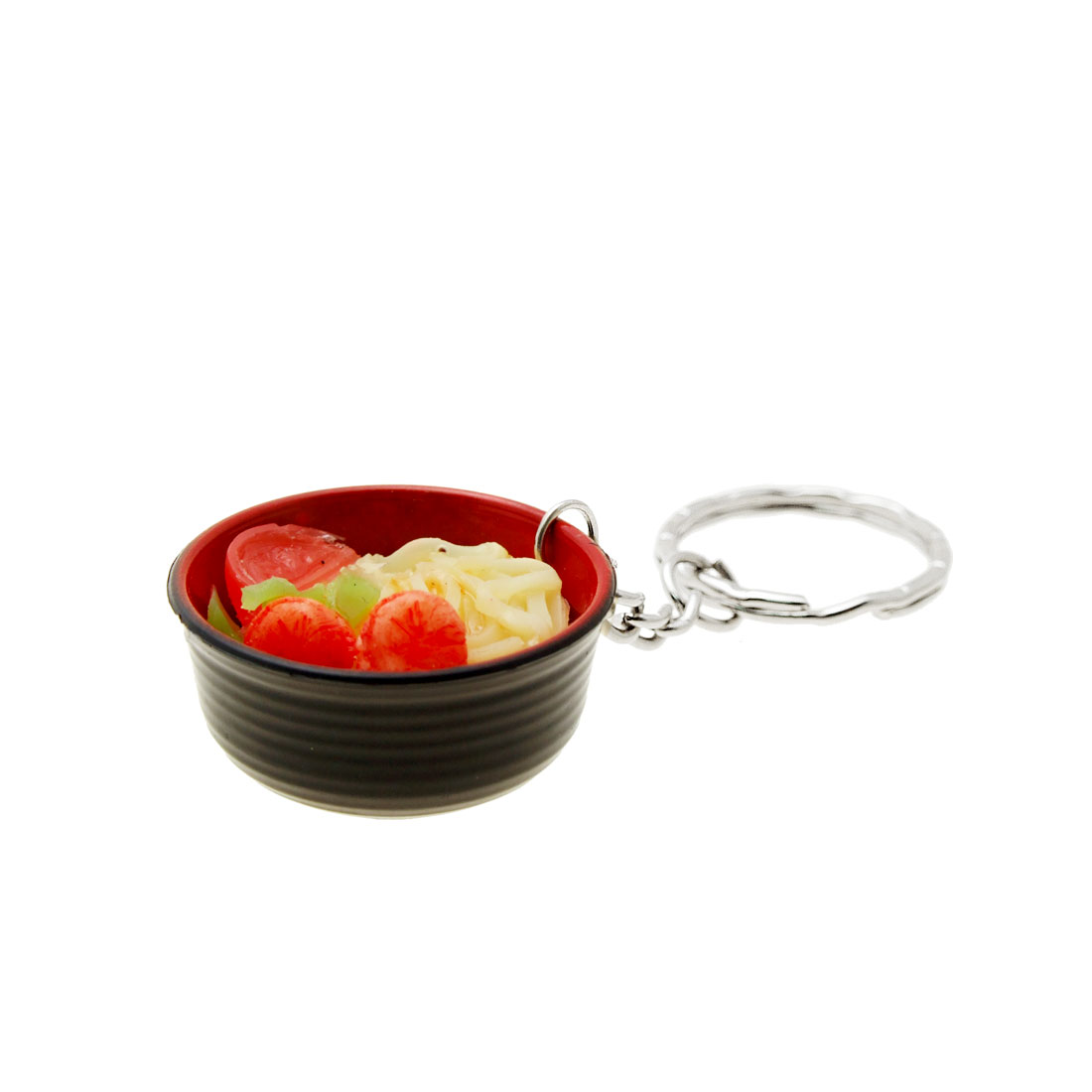 Fashionable Cute Mini Black Bowl Pendant Noodle Food Key Chain