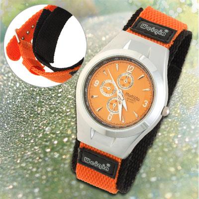 Children Dual Nylon Band Orange Black Sports Water Resistant Wrist Watch