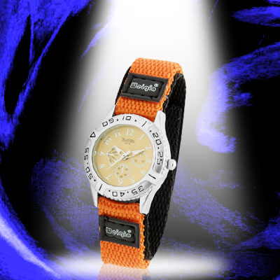 Dual Nylon Band Orange Black Sports Water Resistant Children Wrist Watch