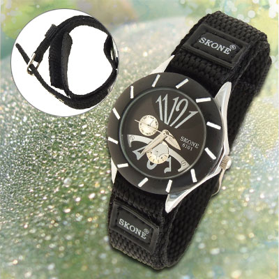 Dual Nylon Black Band Sports Water Resistant Kid's Wrist Watch