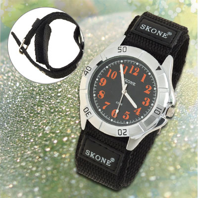 Black Dual Nylon Band Sports Water Resistant Orange Hands Men's Wrist Watch