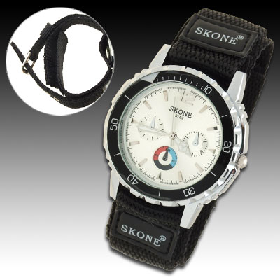 Novelty Dual Nylon Band Night Vision Hands Sports Water Resistant Men's Wrist Watch
