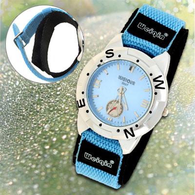 Blue Dual Nylon Band Sports Water Resistant Man's Wrist Quartz Watch