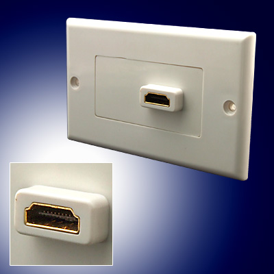 HDMI Wall Plate Outlet Female 19 pin Connector White