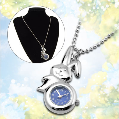 Fashion Jewelry Silvery Rabbit Pendant Ladies Necklace Watch Navy Blue Dial