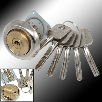 Replacement Door Security Rim Lock Cylinder Set Bump Proof 6 Keys
