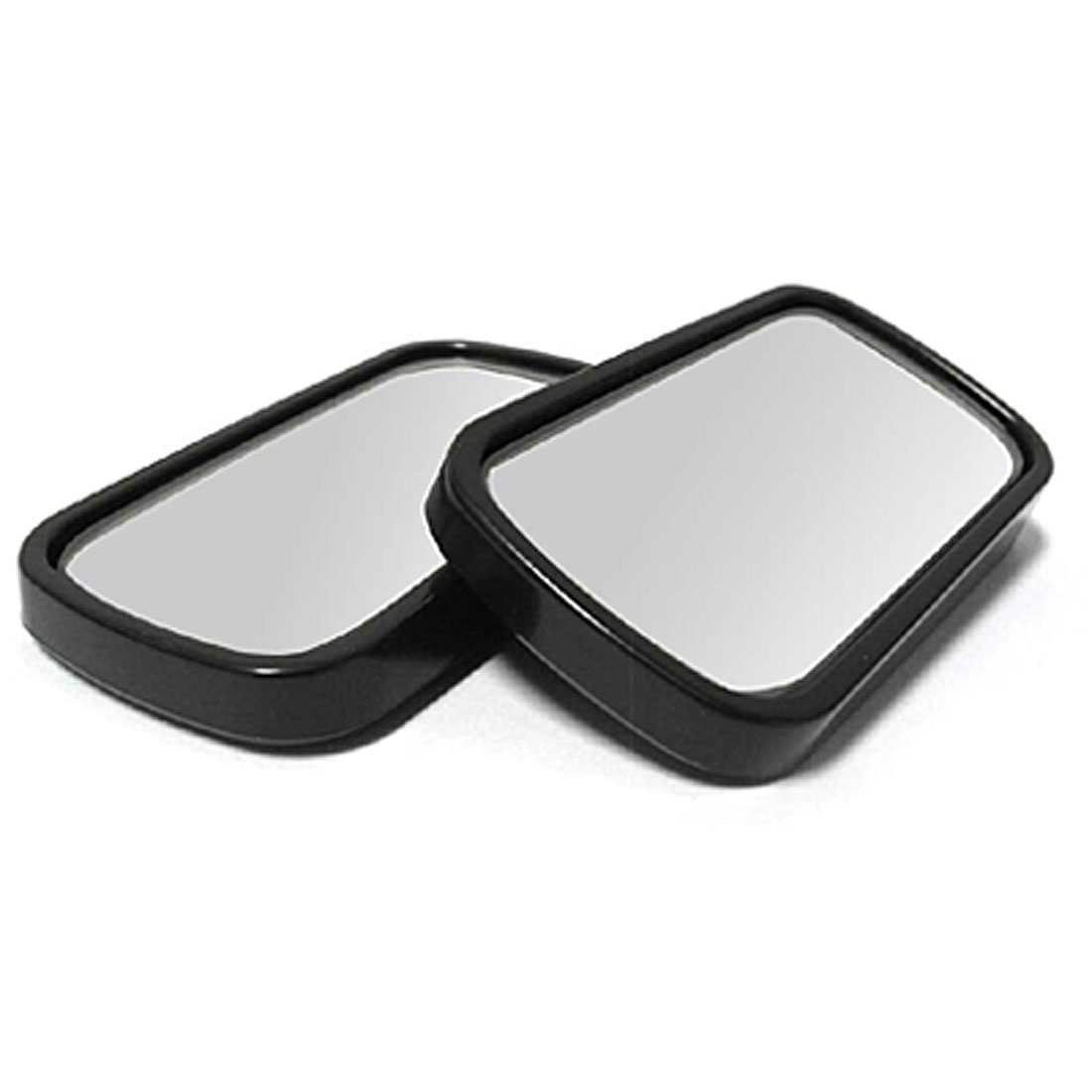 2pcs Black Rectangle Car Rear Side View Wide Angle Blind Spot Mirror 63mm x 34mm
