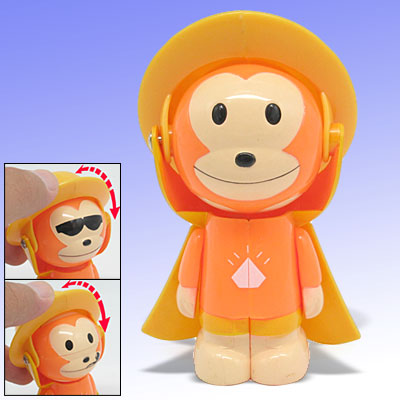 Cartoon Changing Face Orange Monkey Toy with Key Chain