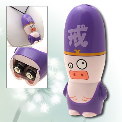 Portable Battery Powered A Chinese Odyssey Cartoon Pig Pattern Mini Purple Cooler Fan