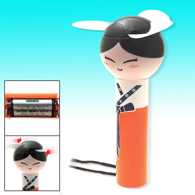 Fashion Portable Moppet Pattern Orange Battery Powered Slim Handle Mini Fan